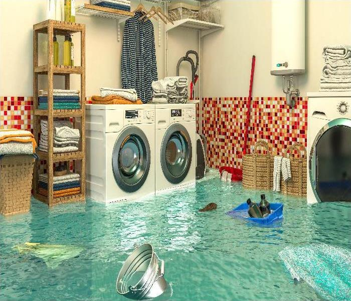 interior of a flooded laundry